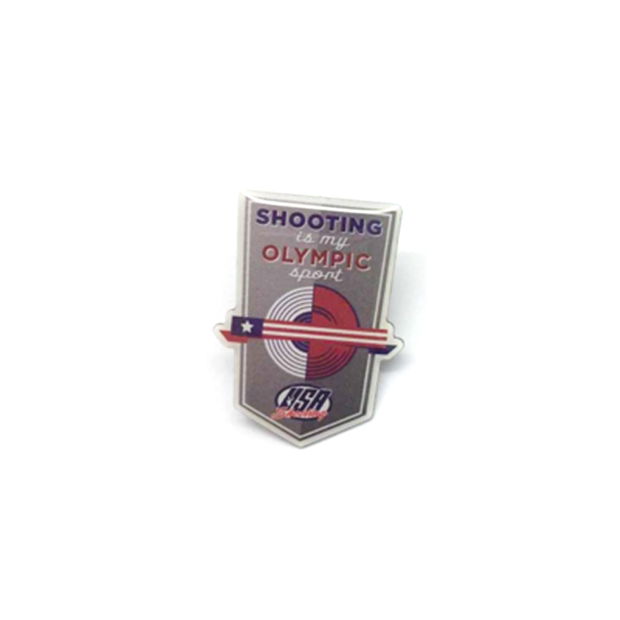 Shooting is My Olympic Sport Pin - Front