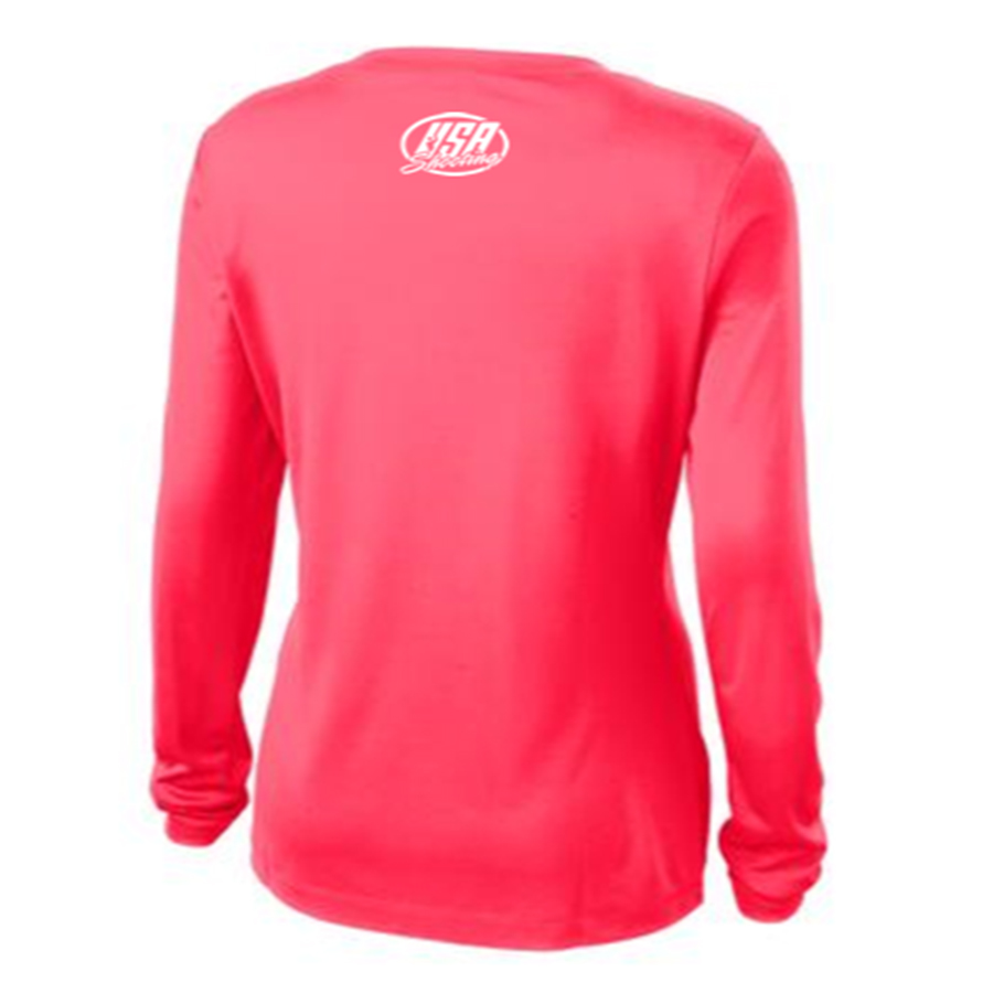 Shoot Like a Girl Long Sleeve T-Shirt Back Hot Coral