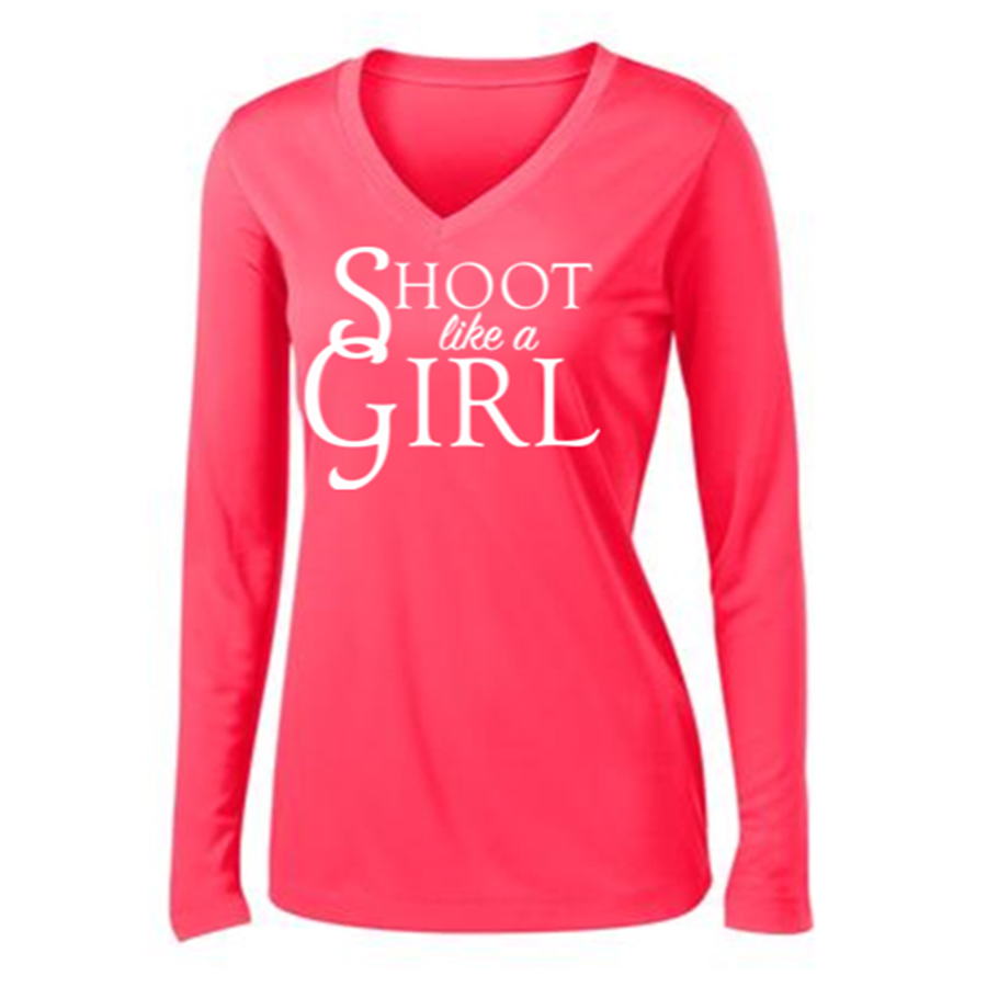 Shoot Like a Girl Long Sleeve T-Shirt Front Hot Coral