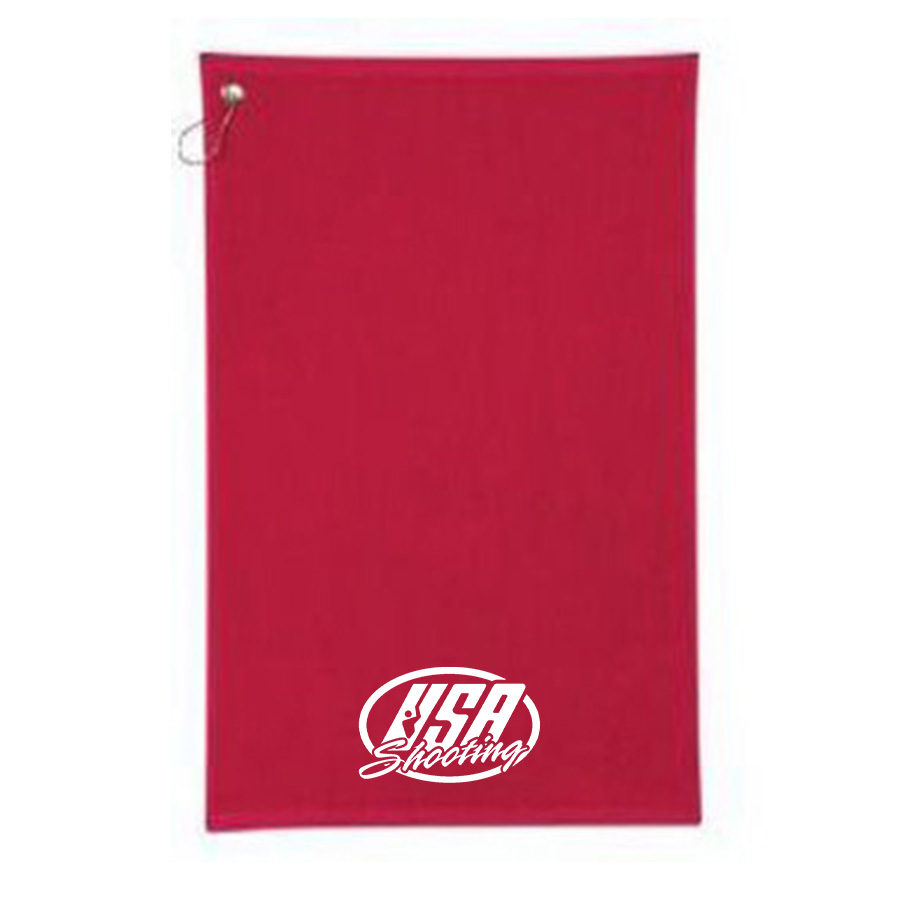 USAS Logo Velour Towel - Red