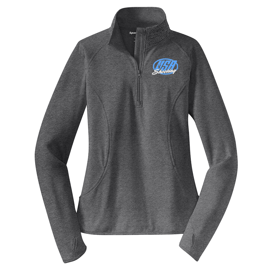 Women's Sport-Tek Sport-Wick® Stretch 1/2-Zip Pullover Charcoal Grey Heather