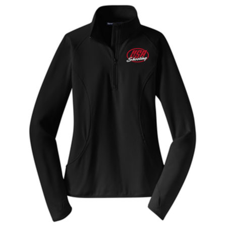 Women's Sport-Tek Sport-Wick® Stretch 1/2-Zip Pullover Black