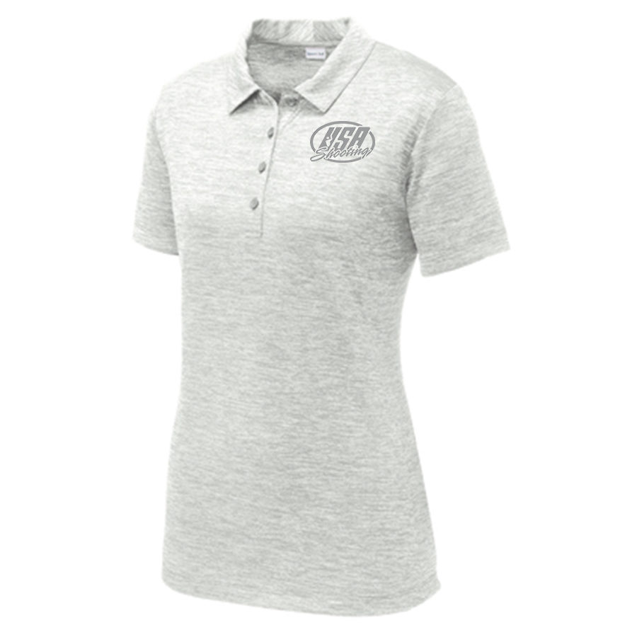 Women S Sport Tek Posicharge Electric Heather Polo Usa Shooting Official Store Posicharge technology helps colors and logos stay vibrant longer. the usa shooting store