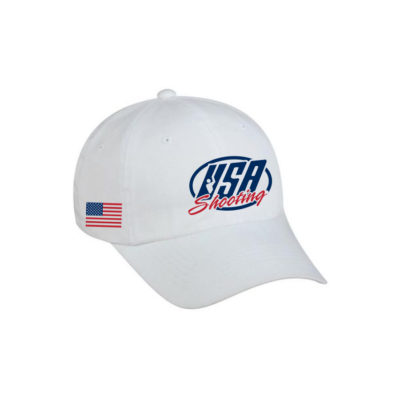 USA Shooting Logo with US Flag Hat - White