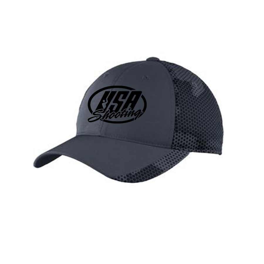 USA Shooting Logo Sport-Tek® CamoHex Cap - Iron Grey