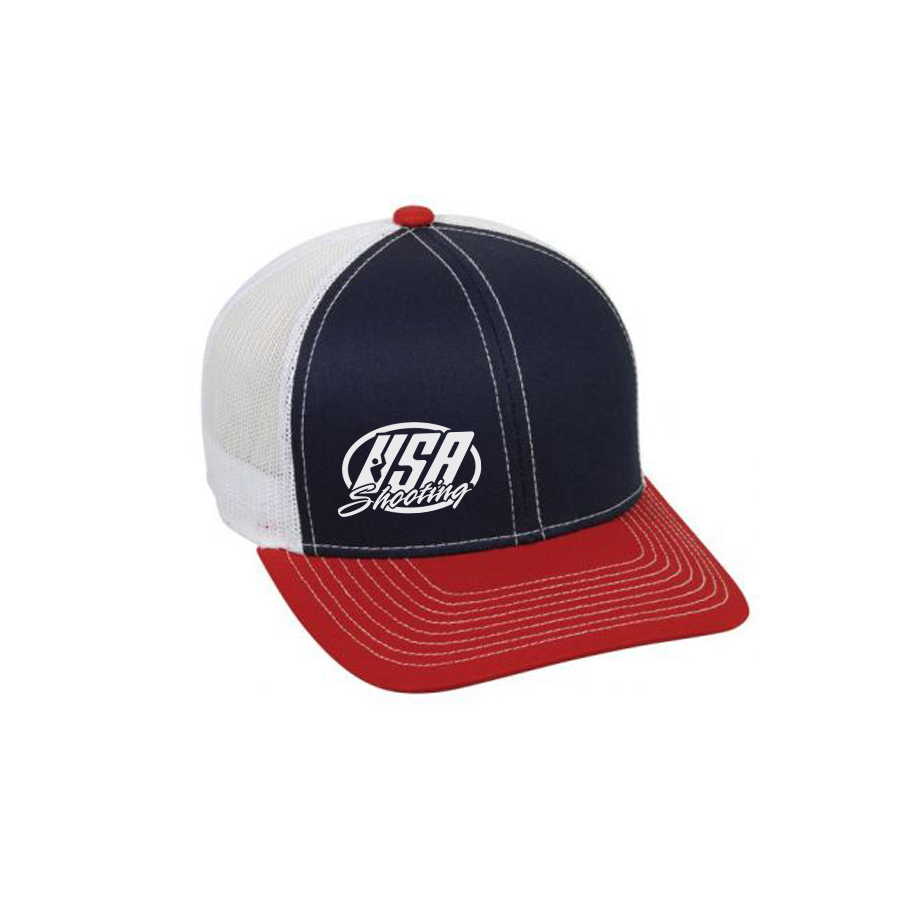 USA Shooting Side Logo Snapback Hat - Navy/White/Red