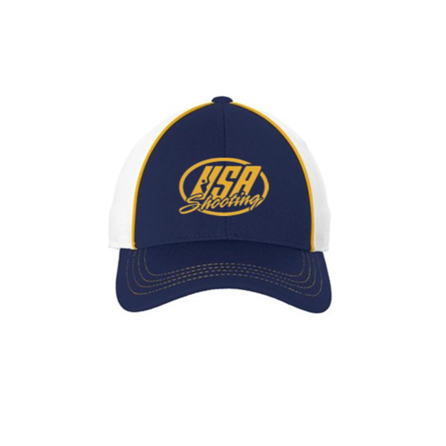 USA Shooting Logo Sport-Tek® Piped Mesh Back Cap - Gold/True Navy/White