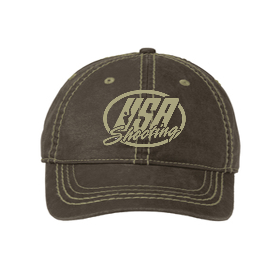 USA Shooting Logo Port Authority® Pigment Print Distressed Cap - Brown