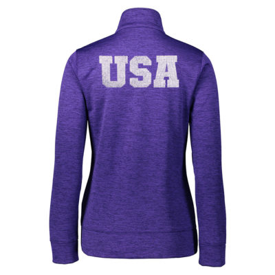 USA Shooting Sparkle Rhinestone Pullover Back Purple