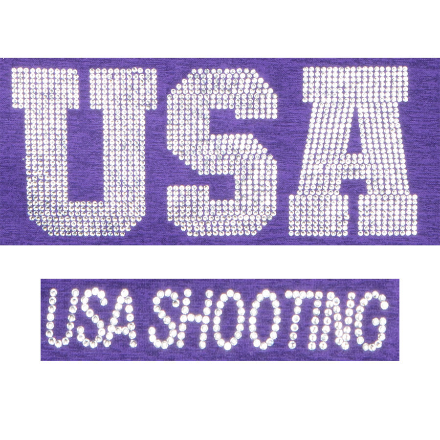 USA Shooting Sparkle Rhinestone Pullover Detail Purple