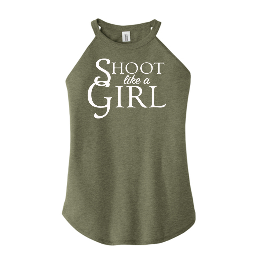USA Shooting - Shoot Like A Girl Tank Top Front Green