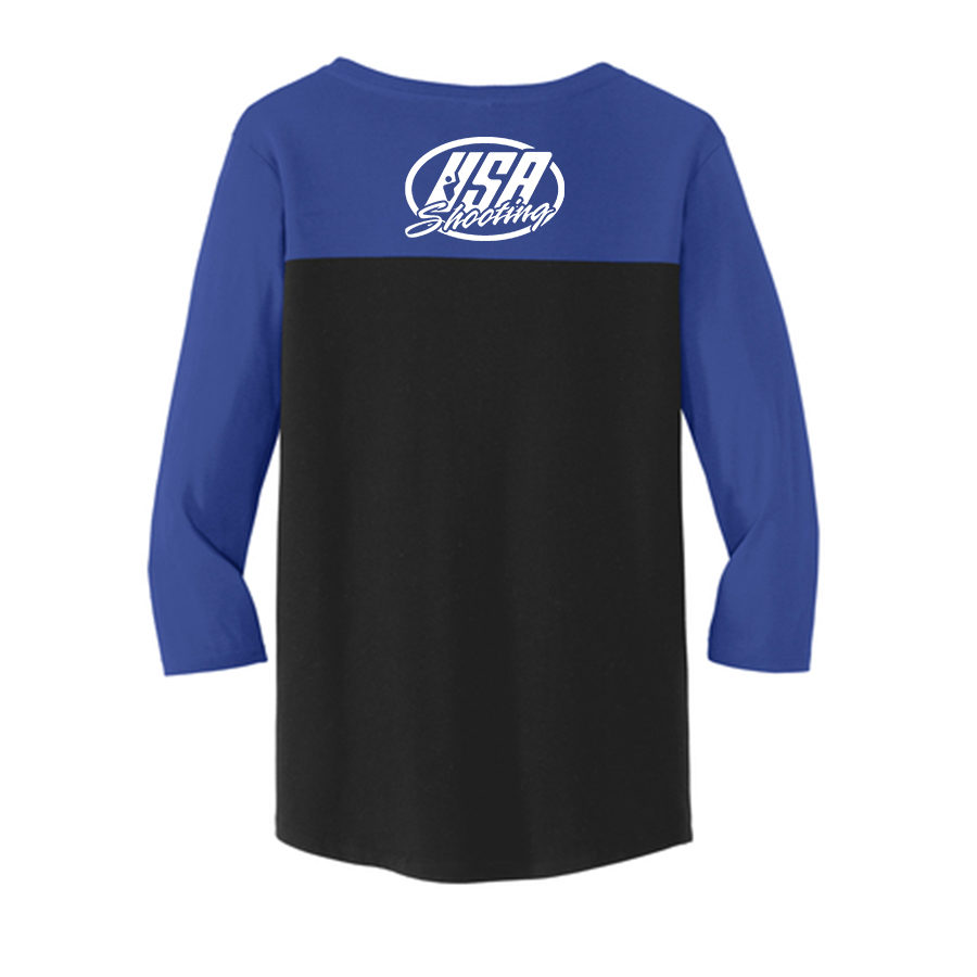 USA Shooting - Shoot Like A Girl 3/4 Sleeve Back Deep Royal/Black