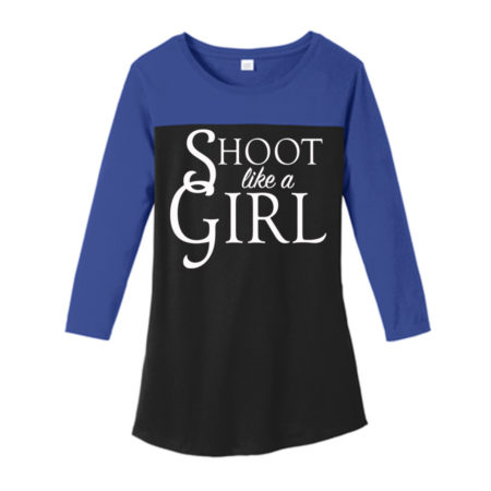 USA Shooting - Shoot Like A Girl 3/4 Sleeve Front Deep Royal/Black