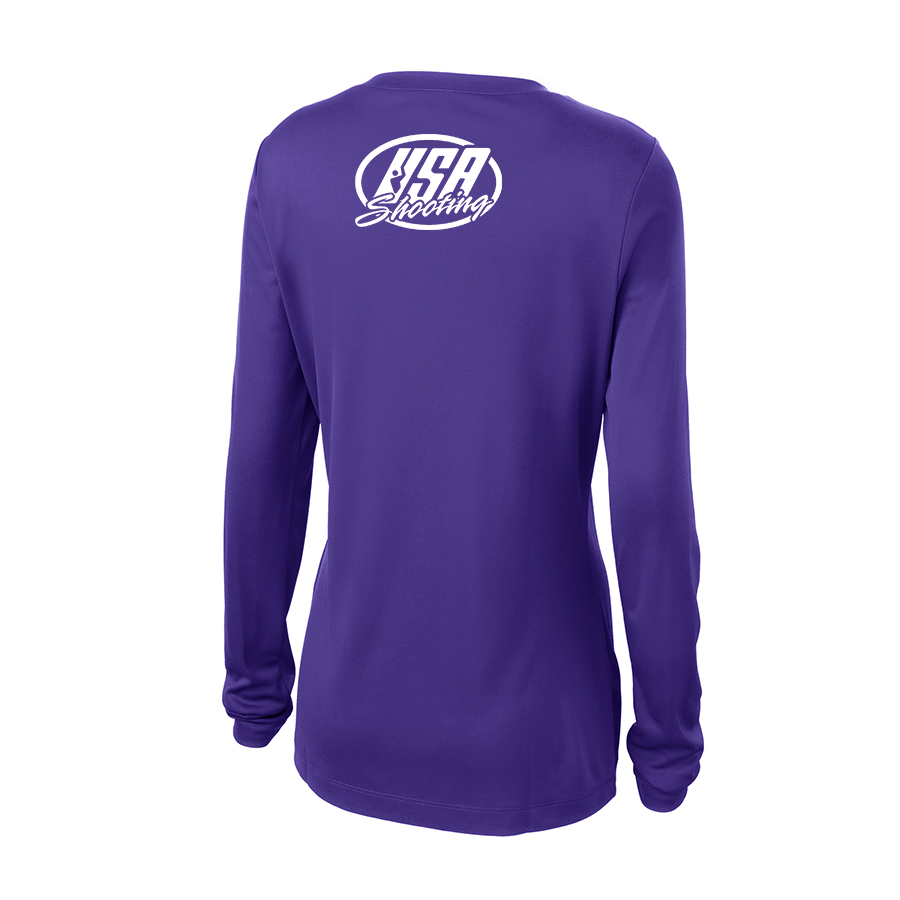 Shoot Like a Girl Long Sleeve T-Shirt Back Purple