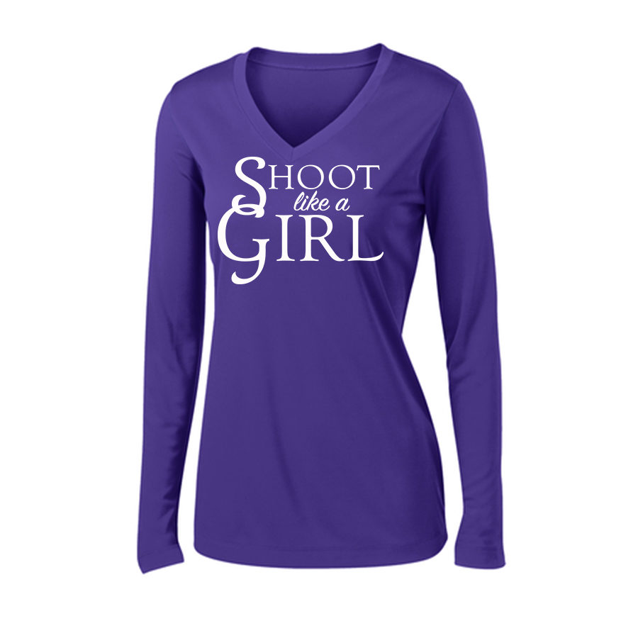 Shoot Like a Girl Long Sleeve T-Shirt Front Purple