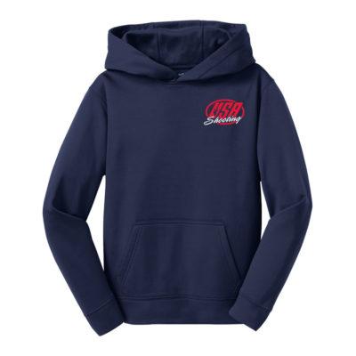USA Shooting - Sport-Tek Youth Sport-Wick Fleece Hooded Pullover Navy