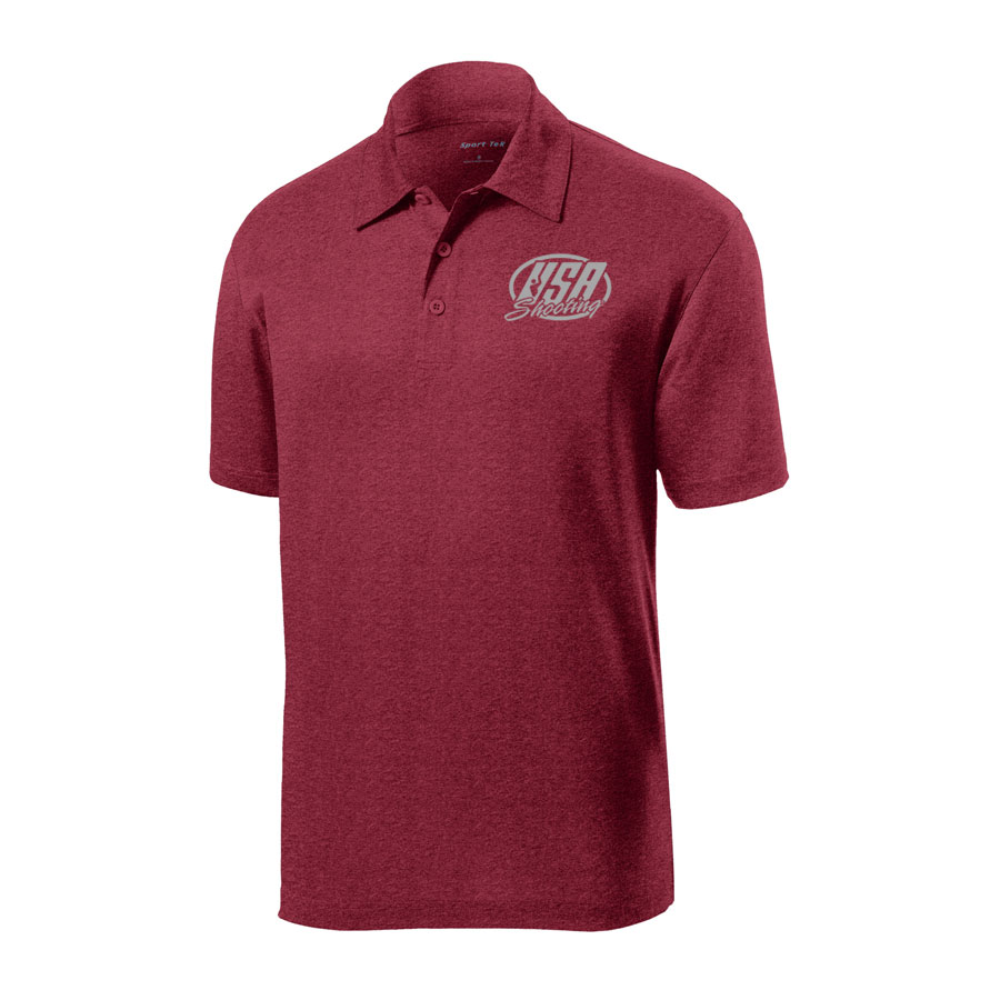 USA Shooting - Sport-Tek Heather Contender Polo Cardinal Heather