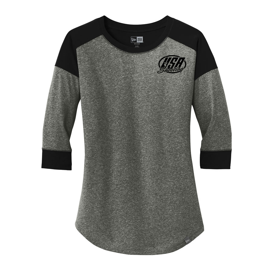 USA Shooting - New Era® Ladies Heritage Blend 3/4-Sleeve Baseball Raglan Tee Black Black Twist