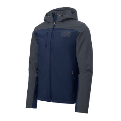 USA Shooting - Port Authority Hooded Core Soft Shell Jacket Dress Blue Navy/ Battleship Grey