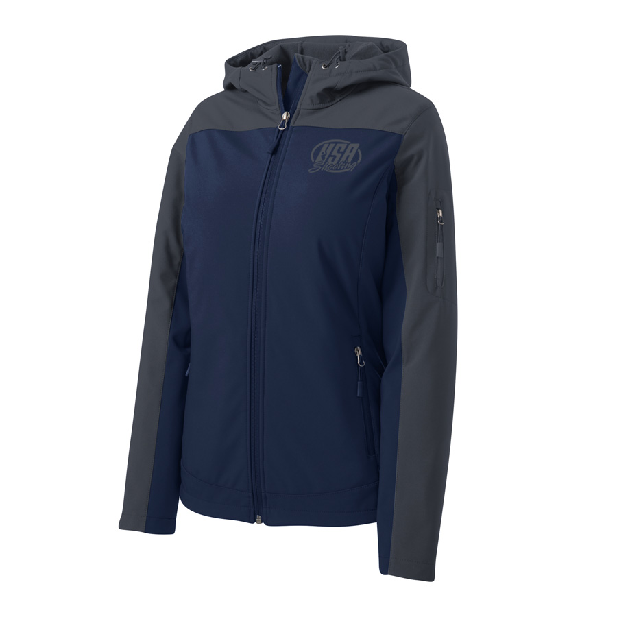 USA Shooting - Port Authority Ladies Hooded Core Soft Shell Jacket Dress Blue Navy/ Battleship Grey