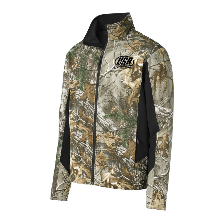 USA Shooting - Port Authority Camouflage Colorblock Soft Shell Realtree Xtra/ Black