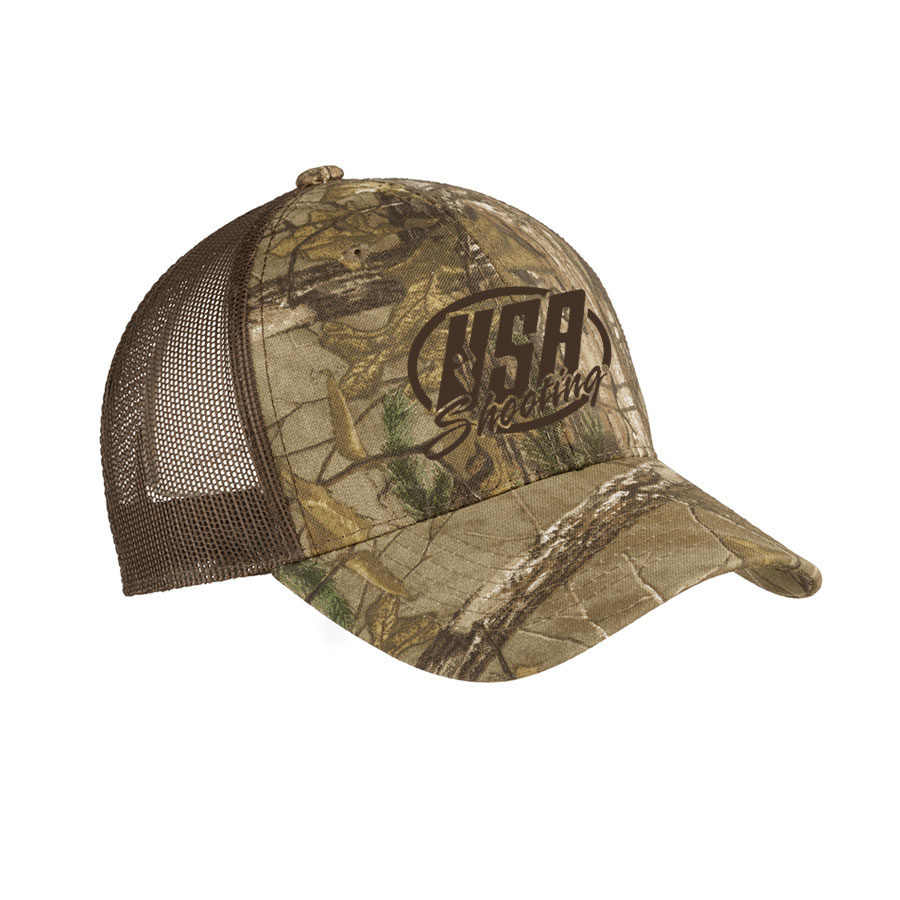 USA Shooting - Port Authority Structured Camouflage Mesh Back Cap Realtree Xtra/ Brown