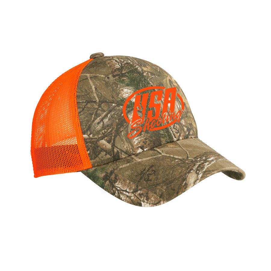 USA Shooting - Port Authority Structured Camouflage Mesh Back Cap Realtree Xtra/ Neon Orange