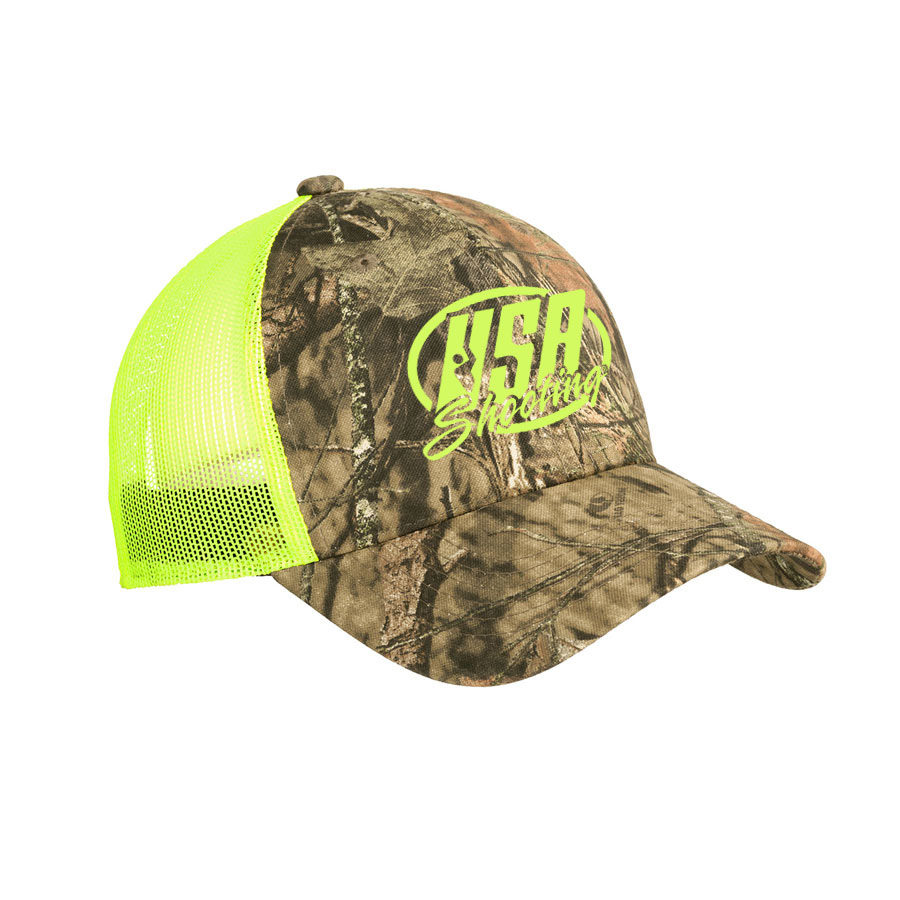 USA Shooting - Port Authority Structured Camouflage Mesh Back Cap Mossy Oak Break-Up Country/ Neon Yellow