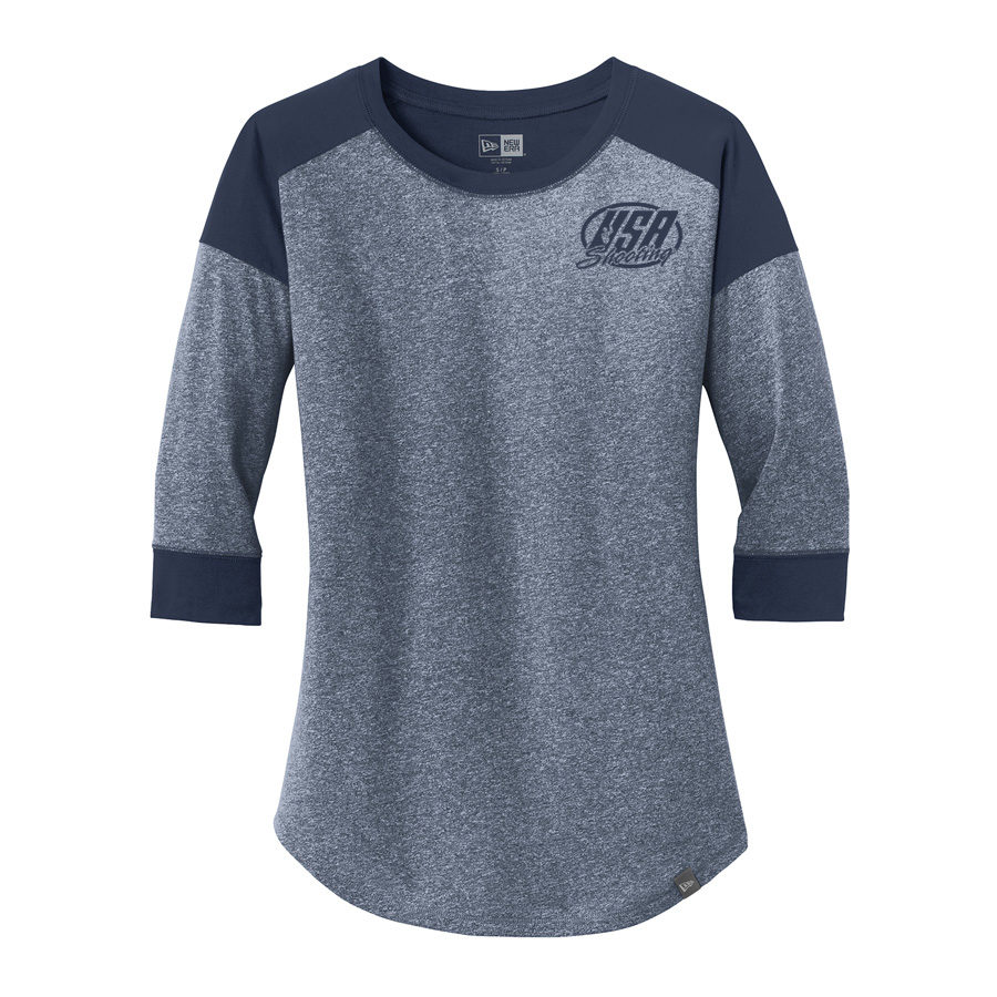 USA Shooting - New Era® Ladies Heritage Blend 3/4-Sleeve Baseball Raglan Tee True Navy True Navy Twist