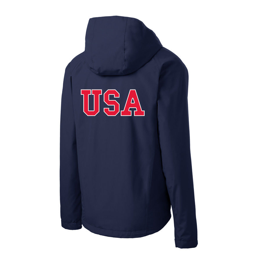 USA Shooting - Port Authority Torrent Waterproof Jacket Back Navy