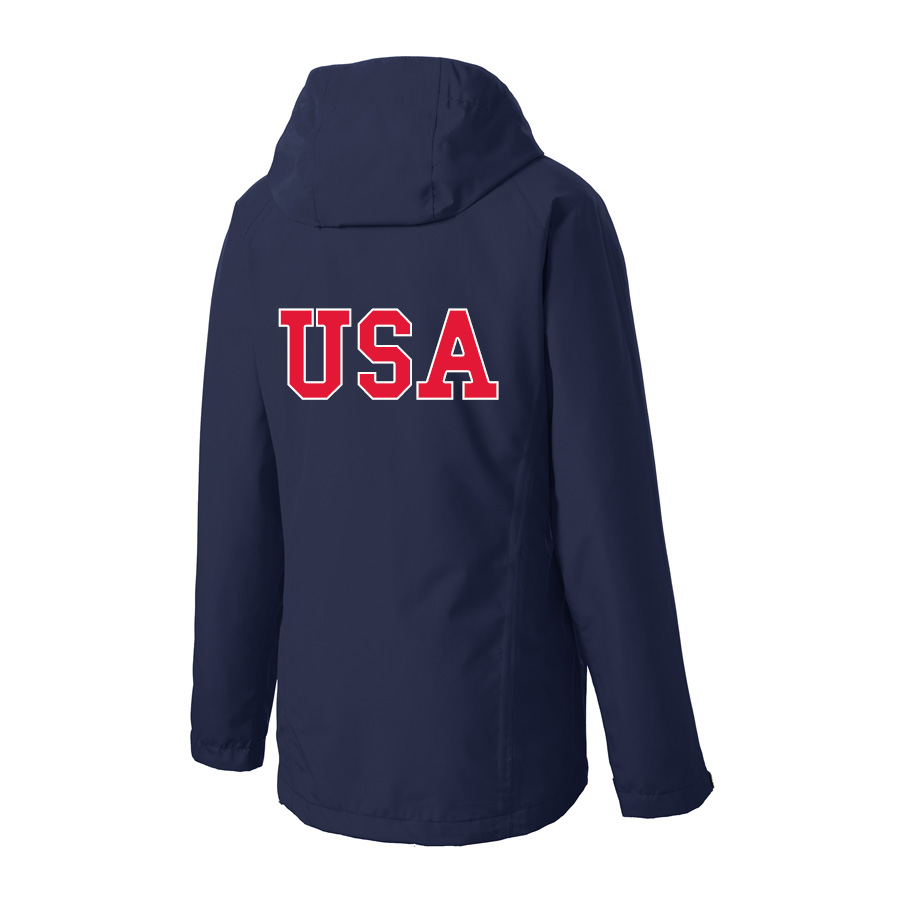 USA Shooting - Port Authority Ladies Torrent Waterproof Jacket Back Navy