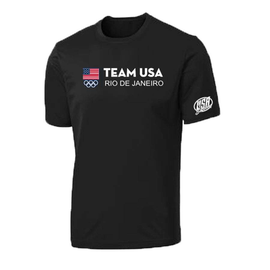 Flag Team USA Rio Olympics T-Shirt Black Front