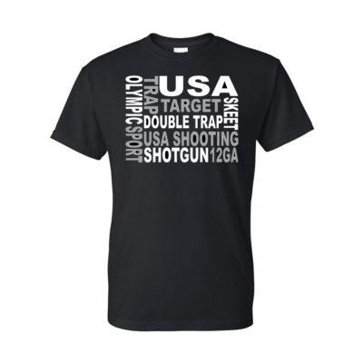 Team USA Shotgun Block Text T-Shirt Black Front