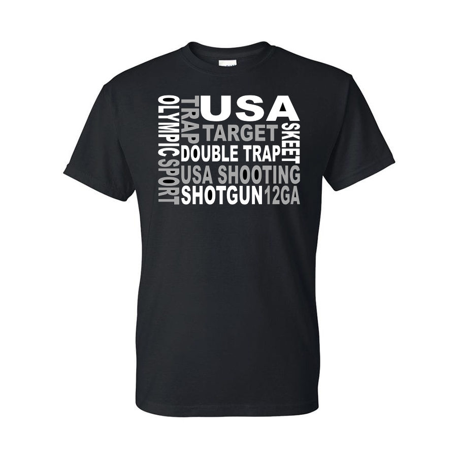 Team USA Shotgun Block Text T-Shirt Black Front