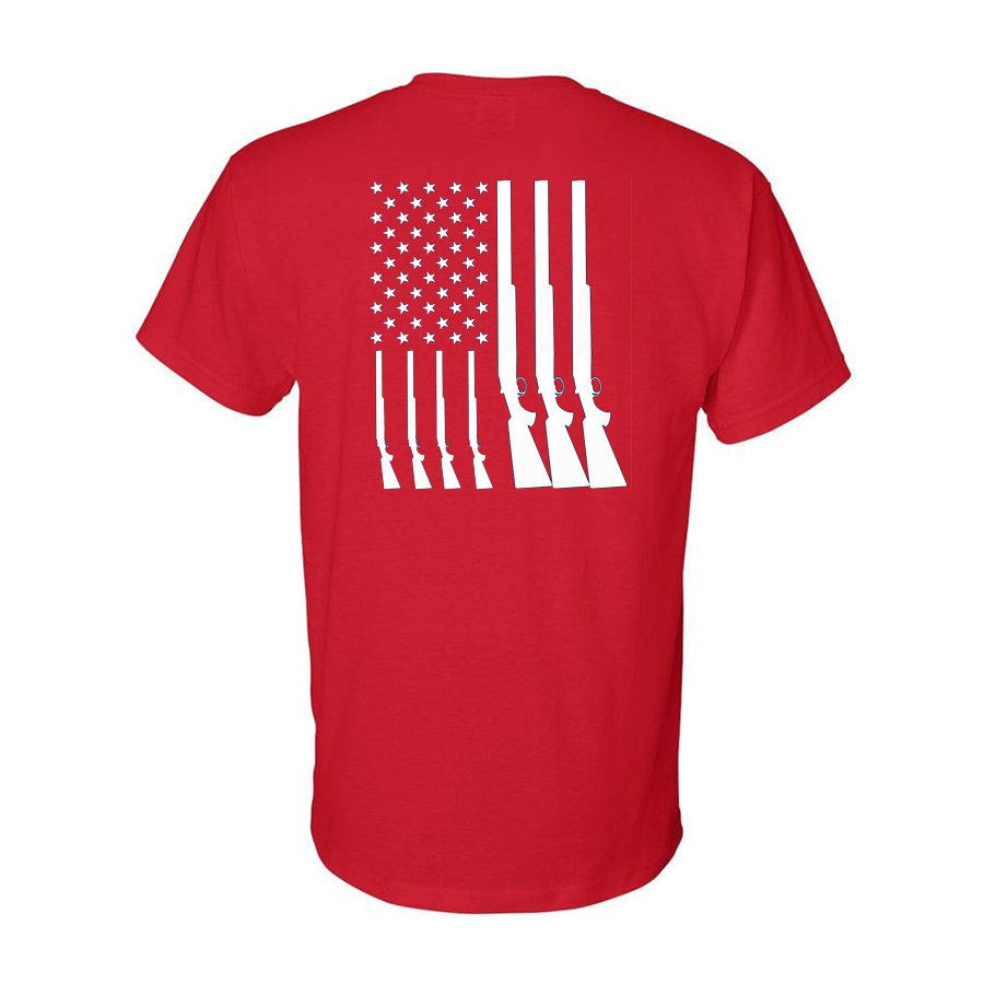 Team USA Shotgun Flag Shirt Red Back