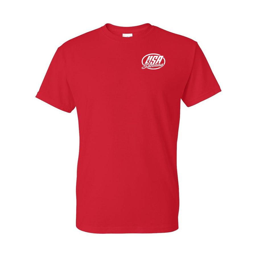 Team USA Shotgun Flag Shirt Red Front