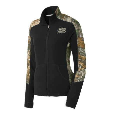 USA Shooting - Port Authority® Ladies Camouflage Microfleece Full-Zip Jacket - Black/ Realtree Xtra