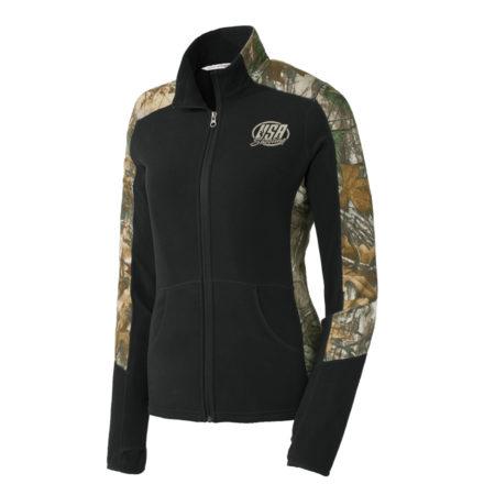 USA Shooting - Port Authority® Ladies Camouflage Microfleece Full-Zip Jacket - Black/ Realtree Xtra