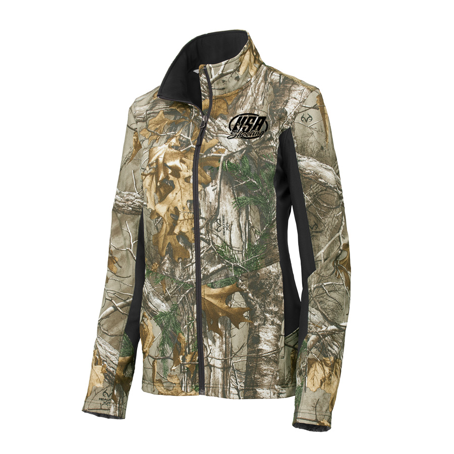 USA Shooting - Port Authority® Ladies Camouflage Colorblock Soft Shell - Realtree Xtra/ Black