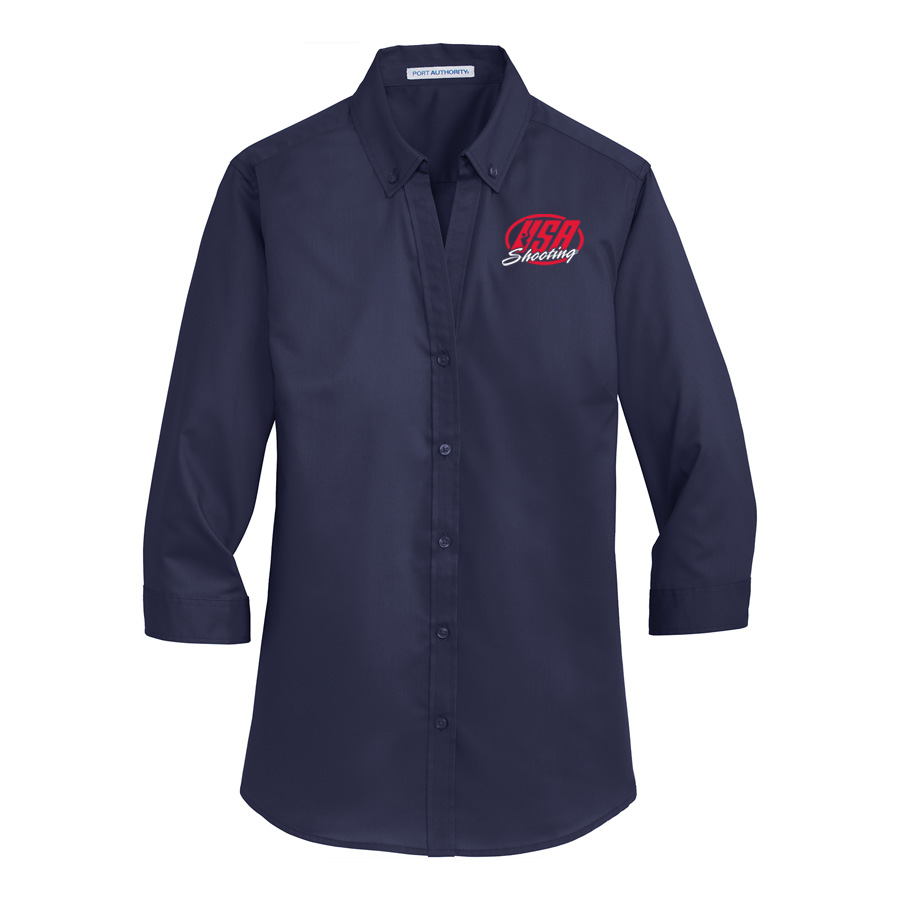 USA Shooting - Port Authority® Ladies 3/4-Sleeve SuperPro™ Twill Shirt - Navy